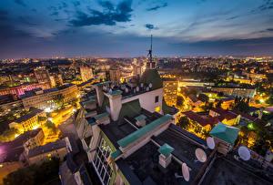 Фотография Киев Украина Дома Небо Ночь Крыша