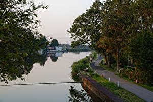 Обои Нидерланды Реки Дороги Деревья Nauerna Природа фото