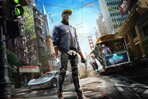 Обои Watch Dogs 2 Дома Мужчины Маски Сан-Франциско Кепка Очки Улица Marcus Holloway Игры фото