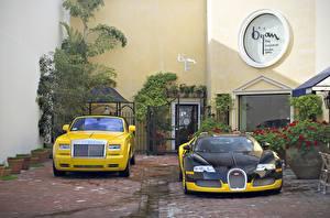 Обои Rolls-Royce BUGATTI Роскошные phantom veyron Автомобили фото