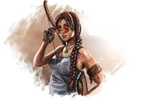Фотография Tomb Raider 2013 Лучники Очки Лара Крофт Коса Майка Игры Девушки