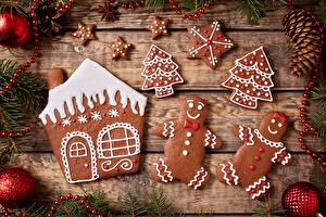 Картинка Рождество Выпечка Печенье Доски Дизайн Шарики Шишки