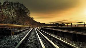 Фотография Железные дороги Вечер Рельсы Природа