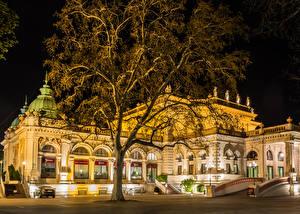 Фотографии Австрия Дома Вена Дизайн Ночь Уличные фонари Деревья Города