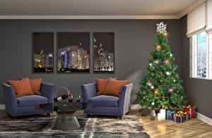 Обои Праздники Новый год Интерьер Кресло Двое Елка Подарки Подушки Окно фото