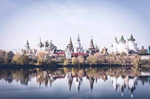 Картинки Москва Реки Дома Izmailovo Города