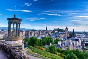 Фотографии Шотландия Дома Небо Памятники Эдинбург Колонны Dugald Stewart Monument Города