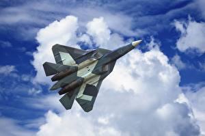 Обои Самолеты Истребители Небо Облака Полет Русские Sukhoi PAK FA T-50 Авиация фото