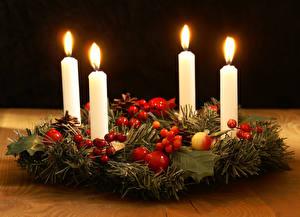 Обои Новый год Праздники Свечи Ветки фото