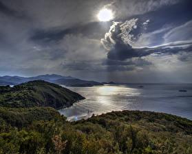 Обои Тоскана Италия Пейзаж Побережье Море Облака Природа фото