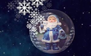 Обои Новый год Игрушки Дед Мороз Снежинки Шарики фото