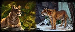 Обои Большие кошки Львы Тигры Рисованные Двое Животные фото