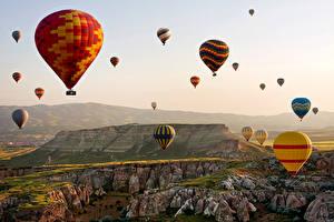 Обои Турция Камни Аэростат Скала Cappadocia Природа