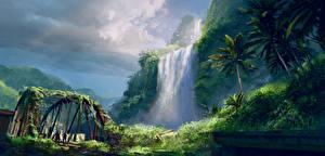 Фотография Far Cry 3 Водопады Горы Мосты Пальмы Игры