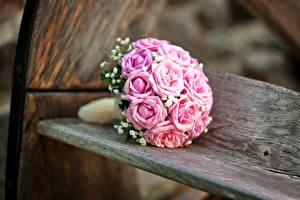 Фото Розы Букеты Скамейка Розовый Цветы