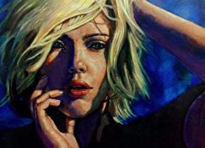 Обои Scarlett Johansson Рисованные Блондинка Волосы Лицо Взгляд Знаменитости Девушки фото