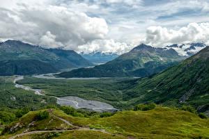 Фотография Пейзаж Горы Луга Леса Аляска Облака Seward Природа