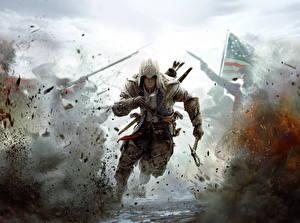 Фотографии Assassin's Creed 3 Мужчина Воин Взрывы Капюшон Бег Игры