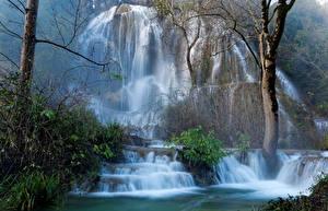 Обои Франция Водопады Скала Larnas Природа фото