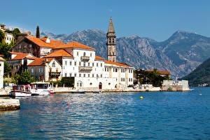 Картинки Черногория Здания Горы Берег Kotor bay Города