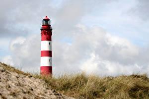 Фотографии Германия Маяк Траве Lighthouse Amrum Природа