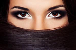 Обои Глаза Взгляд Волосы Брюнетка Макияж Девушки фото