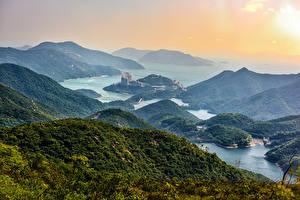 Обои Гонконг Китай Пейзаж Горы Река Леса Природа