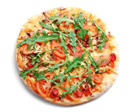 Картинки Фастфуд Пицца Овощи Белый фон Пища