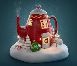 Фотографии Чайник Новый год Праздники Снега Пар Шарики Окно Дверь Дизайн
