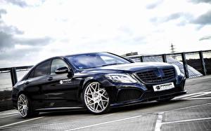 Картинки Mercedes-Benz Черных Металлик 2014 Prior-Design W222 S-Klasse Автомобили