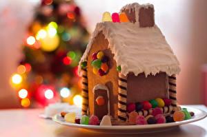 Обои Новый год Выпечка Дома Сладости Праздники Пряничный домик Дизайн Еда