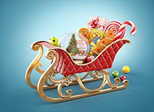 Обои Новый год Праздники Печенье Подарки Сани фото