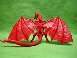Фото Драконы Оригами Крылья Хвост Красный Бумага