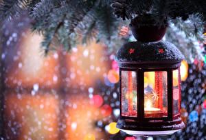 Обои Праздники Новый год Свечи Ветки Фонарь фото