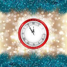 Обои Праздники Новый год Часы Снежинки фото