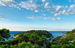 Обои Франция Побережье Небо Прованс Деревья Облака Calanque Port Miou Природа фото
