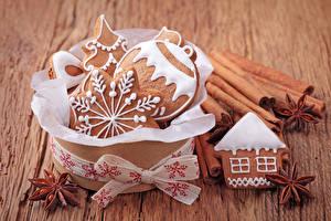 Картинка Рождество Печенье Корица Дизайн Снежинки Шарики Еда