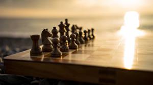Обои Шахматы Крупным планом Деревянный фото