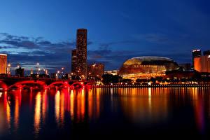 Обои Сингапур Мосты Дома Ночь Уличные фонари Залив Города фото