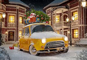 Обои Новый год Дома Снег Ночь Уличные фонари Елка Подарки Желтый Города Автомобили фото
