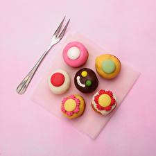 Фото Пирожное Цветной фон Дизайн Еда
