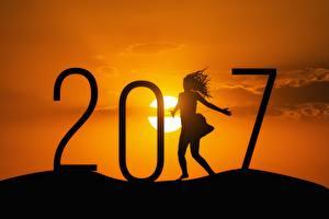 Обои Новый год Рассветы и закаты 2017 Солнце Силуэт Девушки