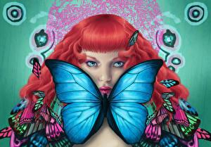 Картинка Рисованные Бабочки Рыжая Взгляд Девушки Фэнтези