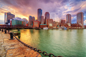 Фотографии США Дома Реки Мосты Корабли Бостон Вечер Цепь Залив Massachusetts Города