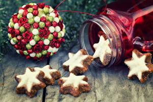 Картинки Новый год Печенье Доски Шарики Звездочки Пища