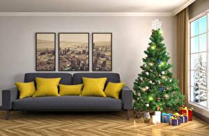 Обои Новый год Праздники Интерьер Елка Подарки Диван Подушки 3D Графика фото