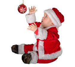 Фотография Рождество Белом фоне Младенец Дед Мороз Униформа Шар Дети