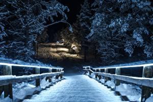 Обои Зимние Парки Снег Лестницы Природа