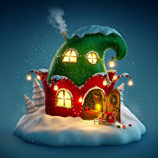 Фотографии Рождество Праздники Шапки Дверь Окно Снегу Дым Уличные фонари