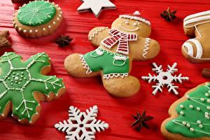 Фотографии Новый год Печенье Дизайн Снежинки Еда